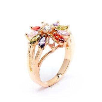 Glamorosa Multi Gem Sunflower Ring (Gold)
