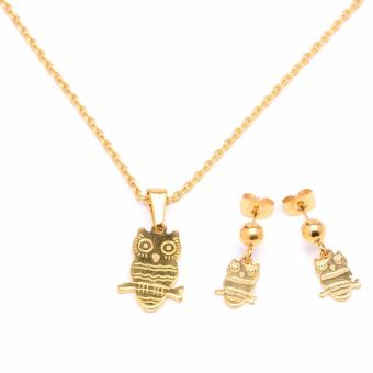 Glamorosa Owl Flat Frame Necklace and Earrings Set (Gold)