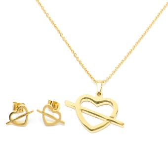 Glamorosa Simple Arrowed Heart Necklace and Earrings Set (Gold)
