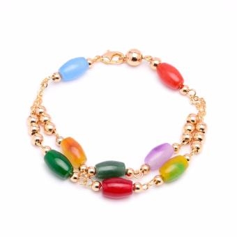 Glamorosa Vintage Beads in Multicolor Double Bracelet (Gold) Price Philippines