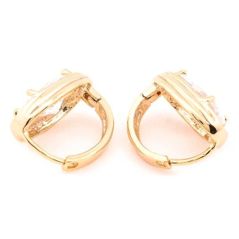 Glamorosa White Diamond Oval Shape Earrings (Gold) with Free Box - 3