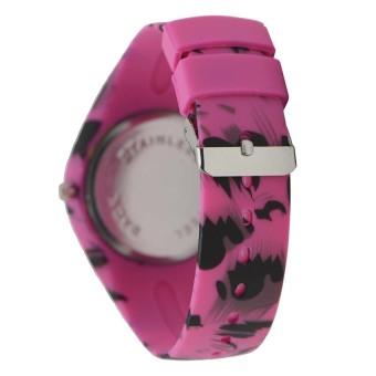 Glamorosa Women's Korean Animal Print Dark Pink Rubber Strap Watch - picture 2