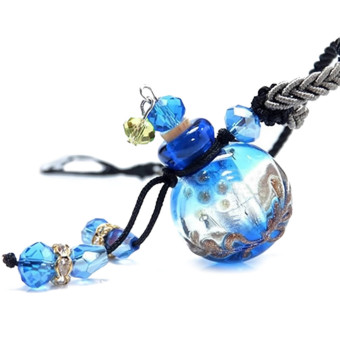 Glass Aromatherapy Essential Oil Perfume Diffuser Locket PendantNecklace Chain Blue