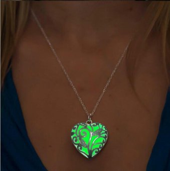 Glow In The Dark Locket Silver Hollow Glowing Stone PendantStatement Chocker Pendants Necklace For Women - intl