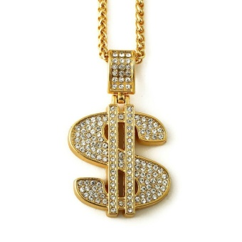 Gold Plated Hip Hop Bling Bling Dollar Sign Gold Chain Dollars Rhinestone Pendant Necklace Fashion Jewelry Men Women Gifts - intl