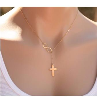 Golden Infinity Cross Necklace