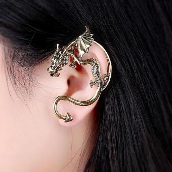 Gothic Punk Temptation Metal Dragon Bite Ear Cuff Wrap Clip Earring GD - intl