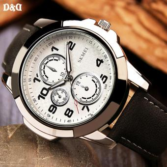 Greatnes D&D Men's Black/White Leather Strap Military Quartz Watch C-XY-3999