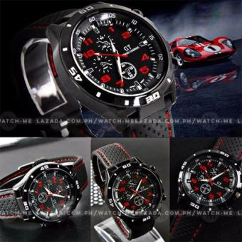 GT Men's Sports Racing Chronograph Style White Rim Black Silicone Strap Watch - 2