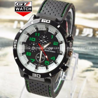 GT Men's Sports Racing White Rim Chronograph Style Black Silicone Strap Watch (Green)