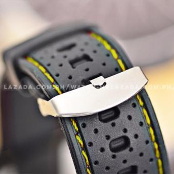 GT Men's Sports Racing White Rim Chronograph Style Black Silicone Strap Watch (Yellow) - 5