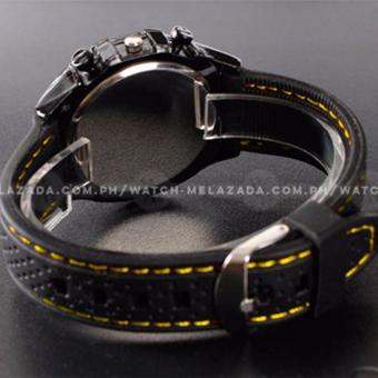 GT Men's Sports Racing White Rim Chronograph Style Black Silicone Strap Watch (Yellow) - 4