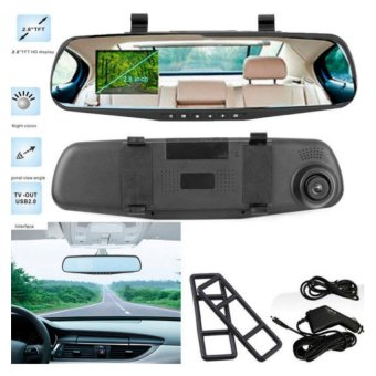 H-999 2.8 inch 1080P Car DVR Rearview Mirror Camera (Black)