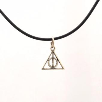 Handmade HP Harry Potter Mini Deathly Hallows Charm Choker Necklace (Silver)