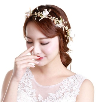 Handmade Lace Bowknot Headbands Lace Flower Pearl Bridal TiarasHair Accessories Hair Jewelry Wedding Bowknot Head Band - intl - 3