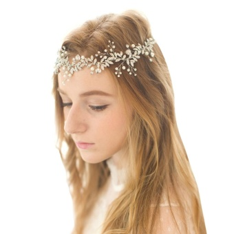 Handmade Rhinestone Pearls Bridal Hair Band Wedding Headwear HairAccessories - intl