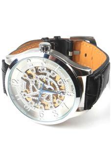 Hang-Qiao Men Mechanical Watch Faux Leather Fashion Black