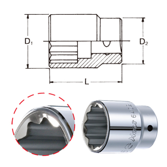 """Hans Tools 6402M-18mm 3/4"""" Drive 12 Points Socket (Silver) - picture 2"""