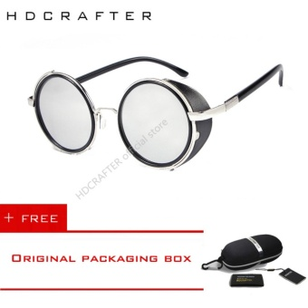 HDCRAFTER Round Steampunk Sunglasses High Quality Gothic Sun glasses Vintage Oculos De Sol Feminino Sports Goggles With Case E005