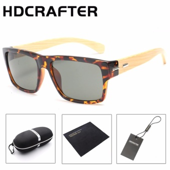 HDCRAFTER square polarized vintage bamboo wood Sunglasses brand designer fashion shades Mirror sun glasses for women men - intl