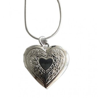 Heart 925 Silver Plated Locket Necklace Silver