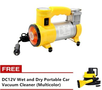 Heavy Duty Air Compressor (Yellow) with Free DC12V Wet and DryPortable Car Vacuum Cleaner (Multicolor)
