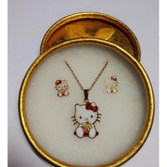 HELLO KITTY COLORFUL NECKLACE WITH STUD EARRINGS STAINLESS STEEL GOLD SET Price Philippines