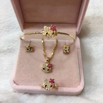 Hello Kitty Jewelry Set For Kids (Rose Gold)