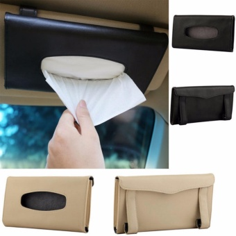 HengSong Soft Leather Tissue Box Case Napkin Holder Box for Car Sun Visor (Black) - intl