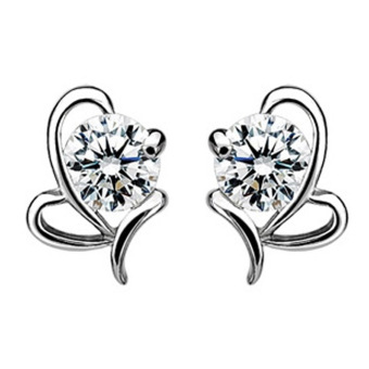 Hequ 925 Silver Plated Heart-shaped Hypoallergenic Bow Earrings (Silver)