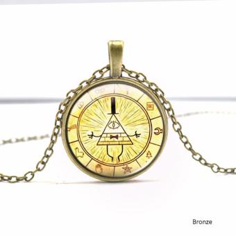 Hequ Bronze Silver Round glass Necklace Steampunk Drama GravityFalls Mysteries BILL CIPHER WHEEL Time Gems Pendant Bronze - intl