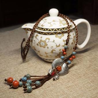 Hequ Ethnic style Jewelry Tibetan silver fish ceramics Semi precious stones Long necklace Cotton clothes Sweater chain - intl - 3