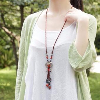 Hequ Ethnic style Jewelry Tibetan silver fish ceramics Semi precious stones Long necklace Cotton clothes Sweater chain - intl - 2