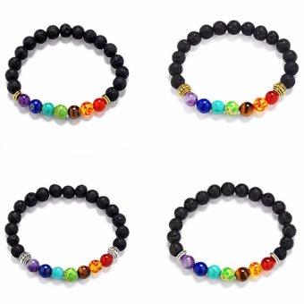 Hequ Joyme 7 Chakra Bracelet For Men Women Black Lava HealingBalance Beads Reiki Prayer Natural Stone - intl - 2
