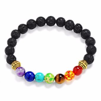 Hequ Joyme 7 Chakra Bracelet For Men Women Black Lava HealingBalance Beads Reiki Prayer Natural Stone - intl