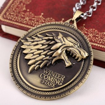 Hequ Movie necklace HBO Game of Thrones House Stark Winter IsComing Bronze 2 Metal pendant - intl