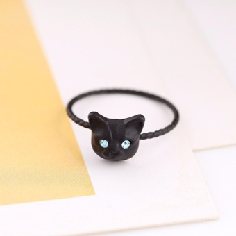 Hequ New 18K gold Plating Cute Cat Head Finger Rings Fashion Jewelry Wholesale - intl