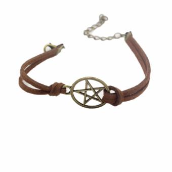 Hequ new chic Supernatural Inspired Bracelet,retro Bronze PentagramPendant,brown Rope Bracelet - - intl