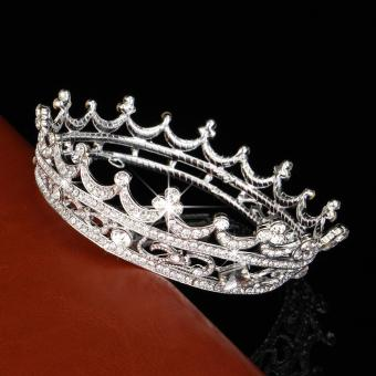 High Full Crystal King Wedding Bridal Party Pageant Prom TiaraRound Hair Crown Silver - intl