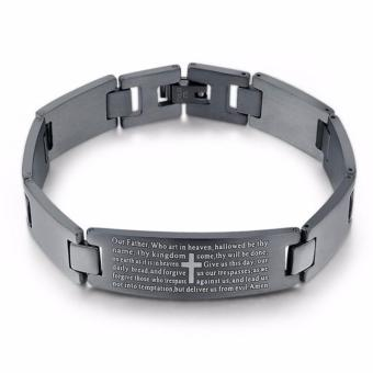 High Grade Premium Stainless Steel Bible Verse Bracelet Matte Black(KEEP THE FAITH)