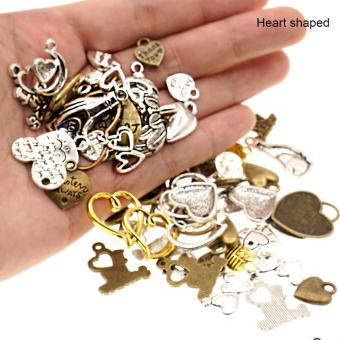 High Quality Store New 100g Vintage Metal Mixed Anchor Rudder LoveHeart Charms Pendant Sets for DIY Jewelry Heart shaped