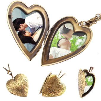 High Quality Store New Woman Man Bronze Heart Friend Photo Picture Frame Locket Pendant Chain Necklace