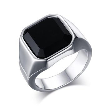 High Quanlity Mens Jewelry Stainless Steel Crystal Zircon DiamondBlack Agate Ring Size:7-12 - intl