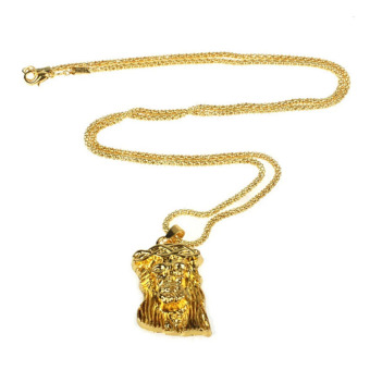 Hip Hop JESUS Christ Necklace 24 K Gold Men Jewelry Eastern Corridor - intl