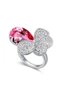 HKS Band Of Shade Austria Crystal Ring (Rose Red) - Intl