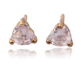 HKS Bling Heart Crystal Earring Ear Stud Piercing Jewelry 18K Gold Filled - Intl