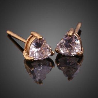 HKS Bling Heart Crystal Earring Ear Stud Piercing Jewelry 18K Gold Filled - Intl - picture 2