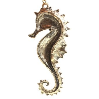 HKS Brand New Vintage Style Bronze Chain Glazed Sea Horse Hippocampus Necklace - Intl