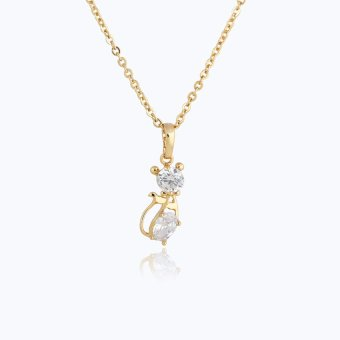 HKS Cute Tied Cat Crystal Necklace Lady Pendant Chain Jewelry Gold Plated (Gold) - Intl - picture 2