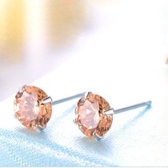 HKS Ear Stud 925 Sterling Silver Quartz Crystal Ear Clip Earring Champagne 7mm - Intl - picture 2